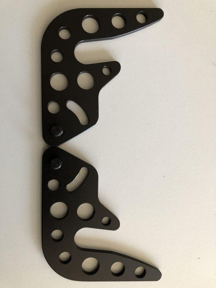 Bonnet hooks, black anodised - DTM style